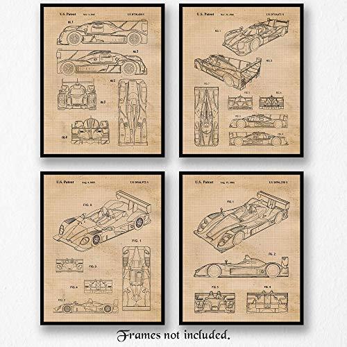 Original Porsche Racing Patent Poster Prints, Set of 4 (8x10) Unframed Photos, Great Wall Art Decor Gifts Under 20 for Home, Office, Garage, Man Cave, Shop, College Student, Teacher, IMSA & F1 Fan (Racing Print)