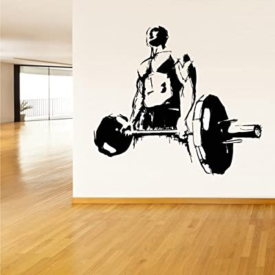 Wall Decal Vinyl Sticker Decals Gym Gymnastics Muscule Fitness Sport Man Rod Barbell (Z3063) by StickersForLife