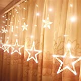 OFTEN 138 LEDs 2m/6.6ft Star Curtain String Light( 6 Big 6 Small),8 Flashing Modes with memory,Waterproof,Used for Wedding,Christmas,Parties,Wedding,Festival Decorations (Warm White)