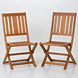 DTY Outdoor Living Armless Folding Chair Set of 2 Eucalyptus Patio Furniture Dining Collection