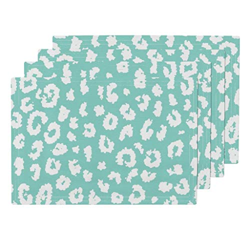 Roostery Leopard Print 4pc Organic Cotton Sateen Cloth Placemat Set - Animal Print Mint Aqua Turquoise Baby Girl Nursery Cheetah by Domesticate (Set of 4) 13 x 19in -