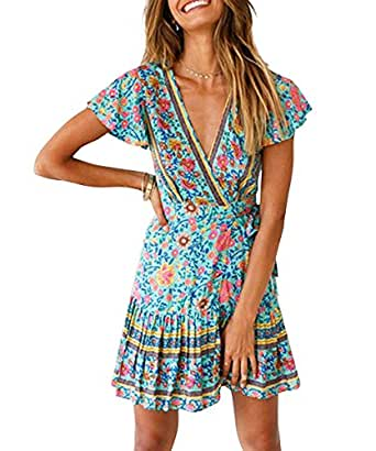 LOVINO Women's Short Sleeve Mini Dress Summer Sexy V Neck Ruffle A Line Beach Dress Vintage Floral Boho Dresses for Women - Green - Small