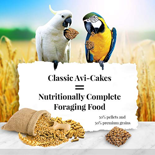 LAFEBER'S Classic Avi-Cakes Pet Bird Food, Made with Non-GMO and Human-Grade Ingredients, for Macaws & Cockatoos, 1 lb
