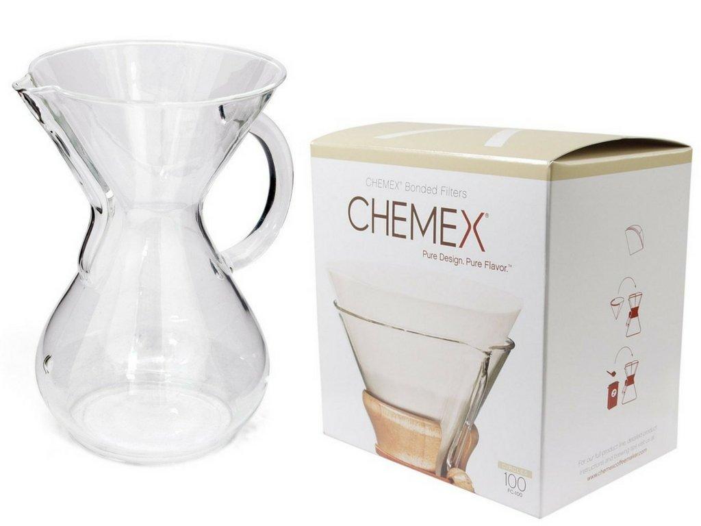 Chemex Bundle - 2 Artículos: cristal mango cafetera y ...