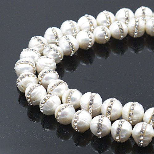 BRCbeads Gorgeous Natural Fresh Water Pearl Gemstone Round With Rhinestone Loose Beads 8mm Approxi 15 inch 1 Strand per Bag for Jewelry Making