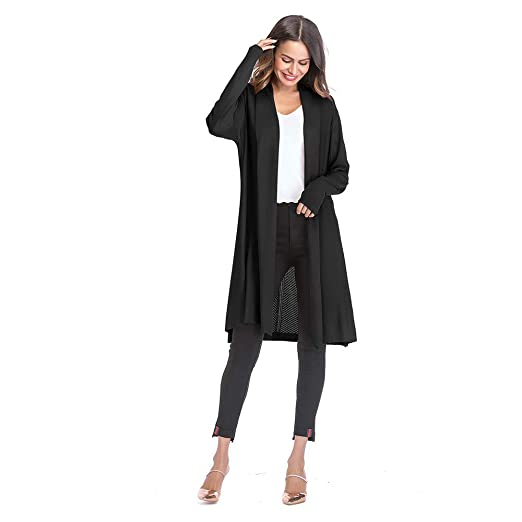 687df69b6db ENIDMIL Womens Open Front Long Drape Cardigan Sweater Long Sleeves Duster  Coat Longline Plus Size (