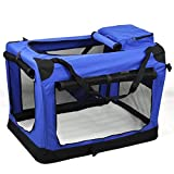 World Pride Dog Soft Crate Kennel for Pet Indoor Home & Outdoor Use - Soft Sided 3 Door Folding Travel Carrier with Straps Blue 23.6'' x 16.5'' x 16.5''