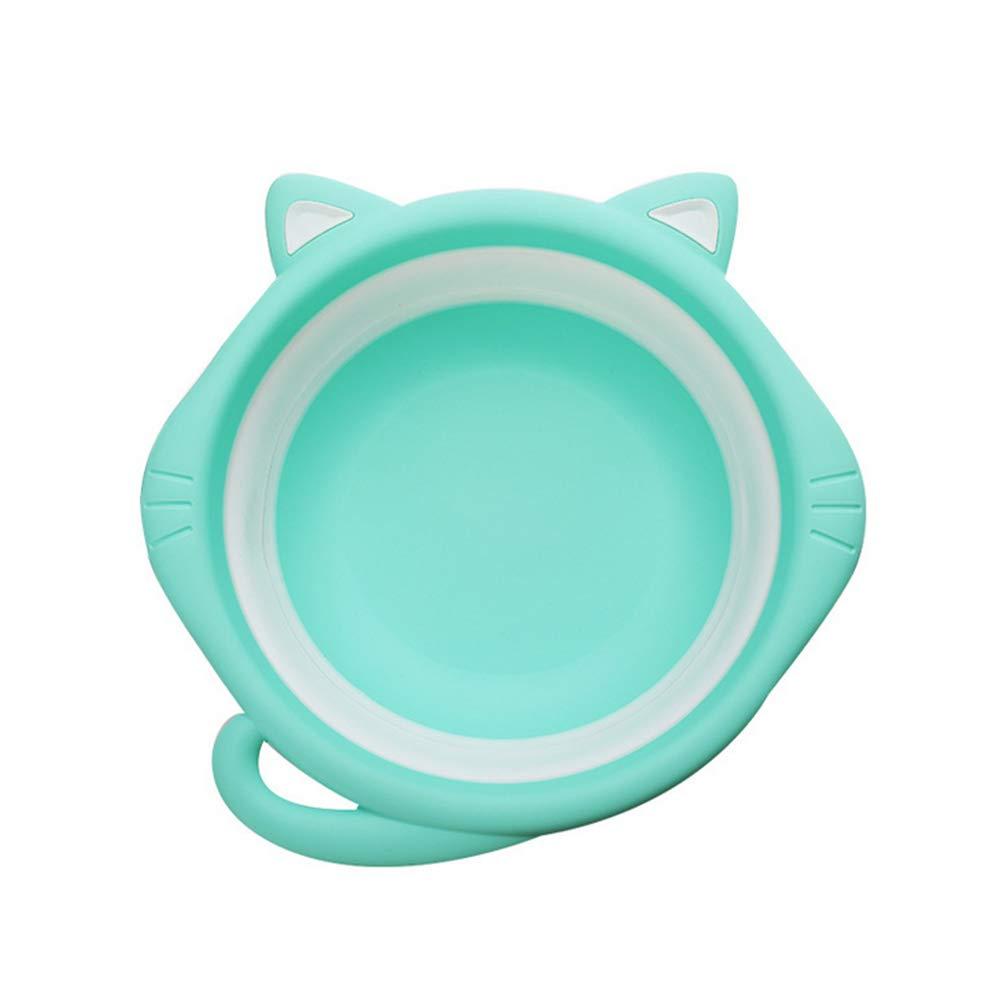 Ruiting Forme Cat bébé Lavabo multifonctionnel Lightweight Portable Pliable Washbowl vaisselle Baignoire en plastique Lavabo antidérapante pour Accueil Voyage Vert Produits Pour Bébés