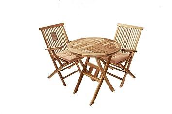Amazonde Sam 3 Tlg Gartengruppe Rondo Teak Holz 1x Tisch Rund