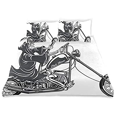 LONSANT Grim Reaper Scythe Riding Motorcycle Duvet Cover Set Design Bedding Decoration All 3 PC Sets 1 Duvets Covers with 2 Pillowcase Microfiber Bedding Set Bedroom Decor Accessories