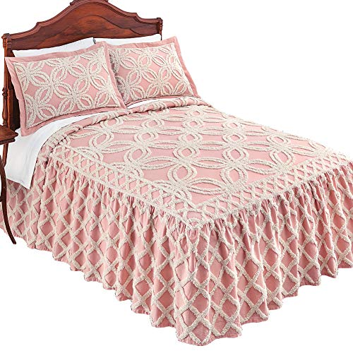 - Collections Etc Allison Chenille Ivory Tufted Trellis Pattern Bedspread - Seasonal Bedding, Blush, King