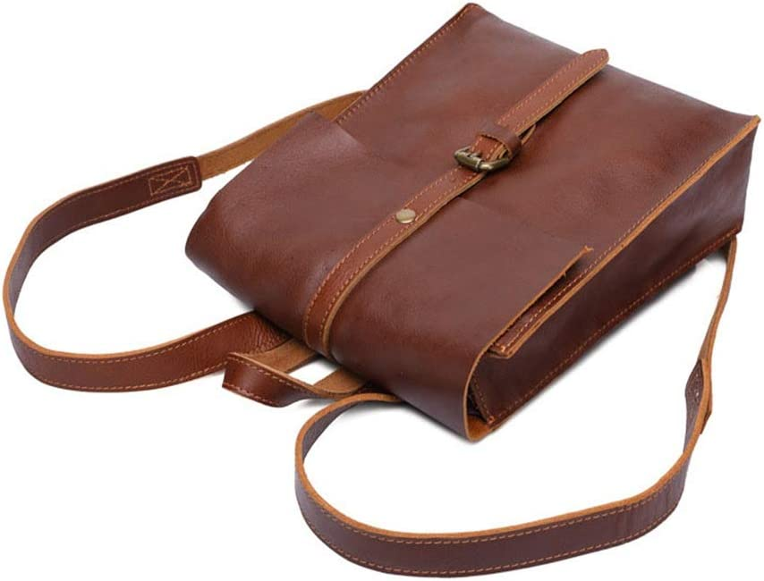 Color : Light Brown LHQ-Camera Bag Durable Retro Backpack Waterproof Zipper Genuine Leather Ipad Bags Travel Shopping Camera Bag