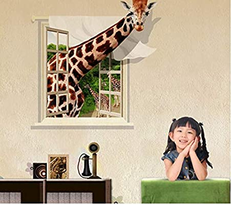 Giraffe in the window 12D Wall Sticker Home Decor Wall Decal for