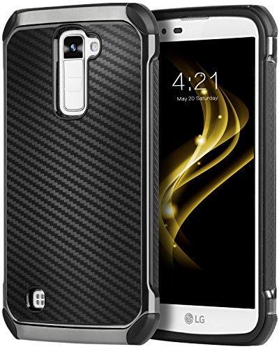 LG K10 Case, LG Premier LTE L62VL L61AL Case, BENTOBEN 2 in 1 Hybrid Hard PC TPU Bumper Carbon Fiber Texture Chrome Shockproof Protective Case for LG K10 (2016) / LG Premier LTE L62VL L61AL, Black (Lg Case G2 Protector Screen)