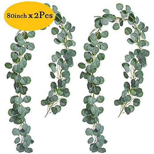 Jinhot 2Pcs Artificial Eucalyptus Garland Eucalyptus Leaves Vines Best Decoration for Wedding, Home,Outdoors, Party,Garden,Window (Cream White, 2)