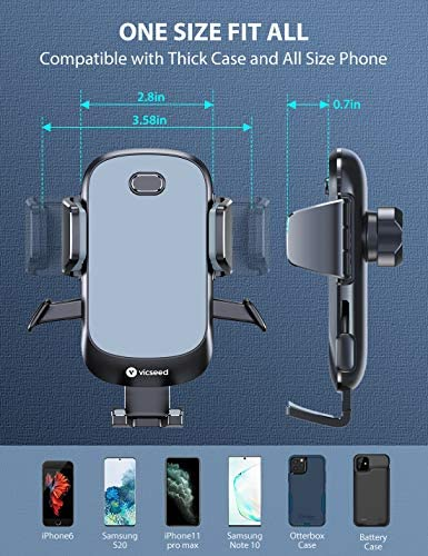 2020 Upgraded Auto Clamp Phone Holder for Car, VICSEED Phone Car Holder Ultra Stable Car Phone Mount Strong Grip Air Vent Car Phone Holder Case Friendly Compatible with iPhone and All Other Smartphone 51X8TWHA2YL