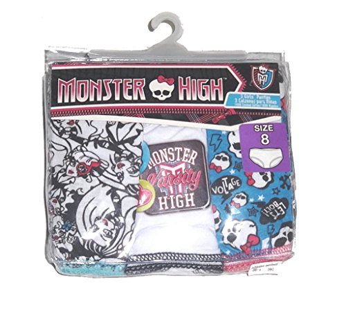 Monster Hight 3 Pair Girls Panties (Size 8) Colors May (Monster Hight)