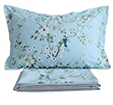 FADFAY Shabby Blue Bird Print Bed Sheet Set 4-Piece King Size