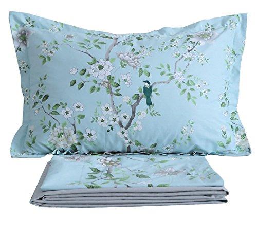 FADFAY Shabby Blue Bird Print Bed Sheet Set 4-Piece King Size - Birds Print