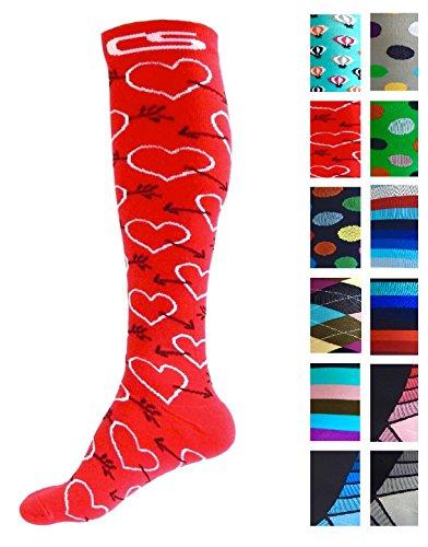 Compression Socks for Men & Women - BEST Graduated Athletic Fit for Running, Nurses, Shin Splints, Flight Travel, Maternity Pregnancy - Boost Stamina, Circulation & Recovery (Cool Cupid, L/XL)