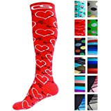 Compression Socks for Men & Women - BEST Graduated Athletic Fit for Running, Nurses, Shin Splints, Flight Travel, Maternity Pregnancy - Boost Stamina, Circulation & Recovery (Cool Cupid, S/M)
