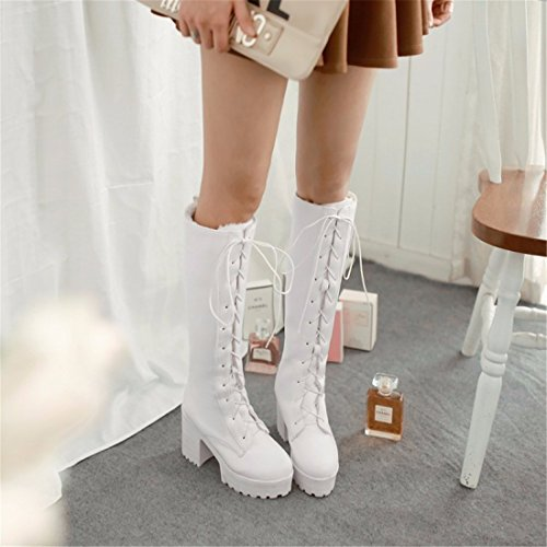RFF-Women's Shoes Thick Bottom Tube Boots Size Shoes Soled Boots Youth Tide,White,35