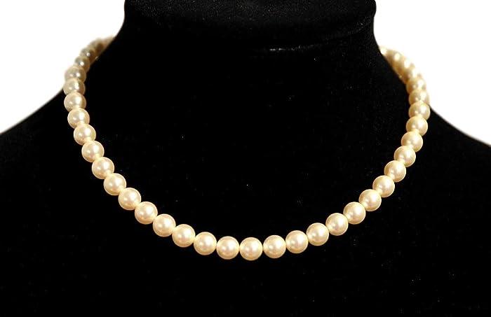 5150e715c Amazon.com: SWAROVSKI crystal Cream Pearl Necklace For Women 925 Sterling  Silver Clasp.: Handmade