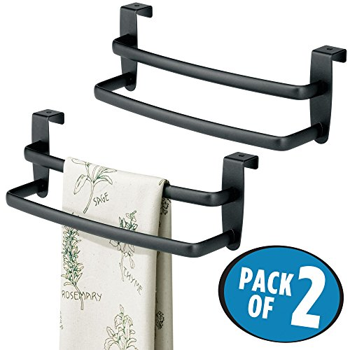 mDesign Modern Kitchen Over Cabinet Strong Steel Double Towel Bar Rack - Hang on Inside or Outside of Doors, Storage Organization for Hand, Dish, Tea Towels - 9.75