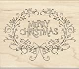 Inkadinkado Holly Framed Merry Christmas Wood Stamp