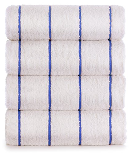 (Premium Quality 100% Turkish Cotton Vertical Stripe 4-Pack Pool Beach Towels, Eco-Friendly (Royal Blue, 35x65 Inch))