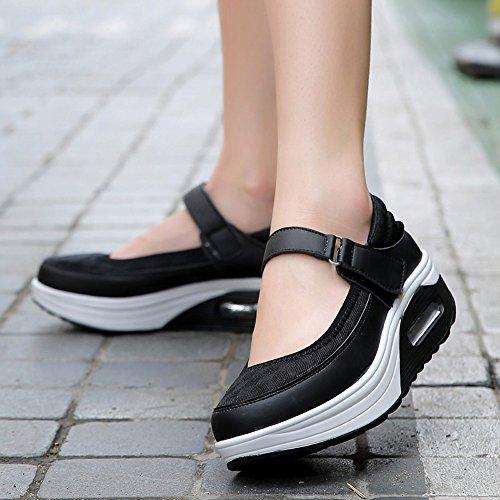 Le Donne Enllerviid Si Modellano Scarpe Mary Jane Nero Fitness Toning Sneakers Da Passeggio Tomaia In Mesh Nero