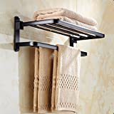 Seatracl Whole Aluminum Folding Black Bath Towel Rack Active Bath Towel Shelf Bathroom Towel Holder Black Double Towel Shelf MH6005