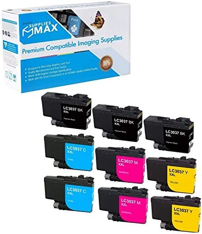 SuppliesMAX Compatible Replacement for Brother HL-6000//MFC-J5845//J5945//J6545//J6945DW Super High Yield Inkjet Combo Pack LC-3037MP BK//C//M//Y