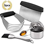 Pastry Cutter Set, EAGMAK Pastry Scraper and Dough Blender, Stainless Steel Dough Cutter Scraper Blender Set, Professional Heavy Duty Baking Dough Tools for Home Kitchen