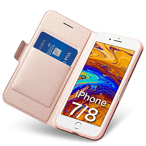 iPhone 7/8 Flip Case with Card Holder, Magnetic Closure, Kickstand - Ultra Slim Leather Wallet/Folio Notebook, (Hard PU + Soft TPU) Full Cover - Complete Protection for Apple 4.7