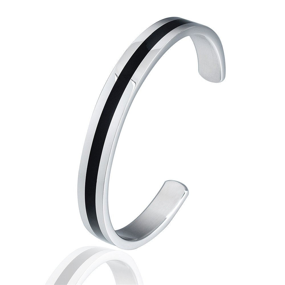 HAWSON Classic Stainless Steel Cuff Bracelet for Men and Women Mininalist Bangle Silver and Black b710231