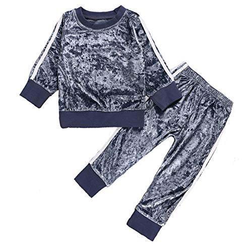 1-6Y Girls Velvet Sweatshirt Tops + Pants Fashion Sports Tracksuit Clothes Set (1-2T, ()