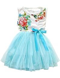 1 2 3 4 5 Years Kid Girls Cute Floral Sundress Tulle Tutu Skirt Tank Dress