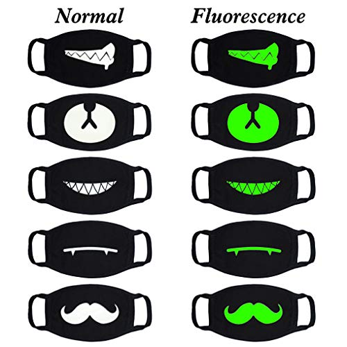 (Fisstina 5 Pcs Unisex Cotton Luminous Mouth Mask Anti dust Cycling Face Mask for Halloween Cosplay Christmas Birthday Party )