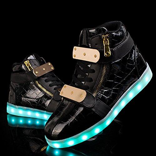 Joymoze Zapatos unisex de Alta Carga USB recargable con luz LED superior, doble cremallera intermitente de 7 colores casuales Negro