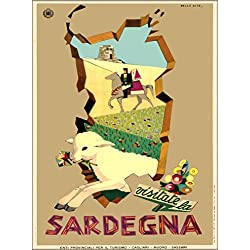 Visitate la Sardegna Sardinia Island Lamb Italy Italian Europe European Vintage Travel Advertisement Art Poster Print. Measures 10 x 13.5 inches