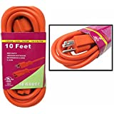 Heavy Duty 10ft Orange Extension Power Cord Indoor Outdoor (10 feet) by Unique Imports