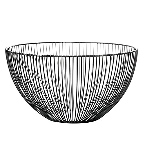 Lights of life Metal Iron Wire Storage Basket Modern Creative Fruit Bread Candy Snack Bowl Household Decor Fruit plate Black Stripes (20cm) (Creative Fruit Baskets)