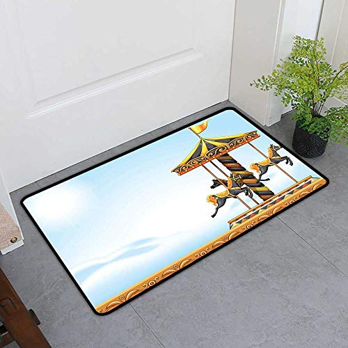 Commercial Grade Entrance Mat, Outdoor Custom Rugs for Kids Room, Carousel Ride Amusement Park Platform Carnival Circus Horse Roundabout (Black Yellow Pale Blue, H16 x W24)
