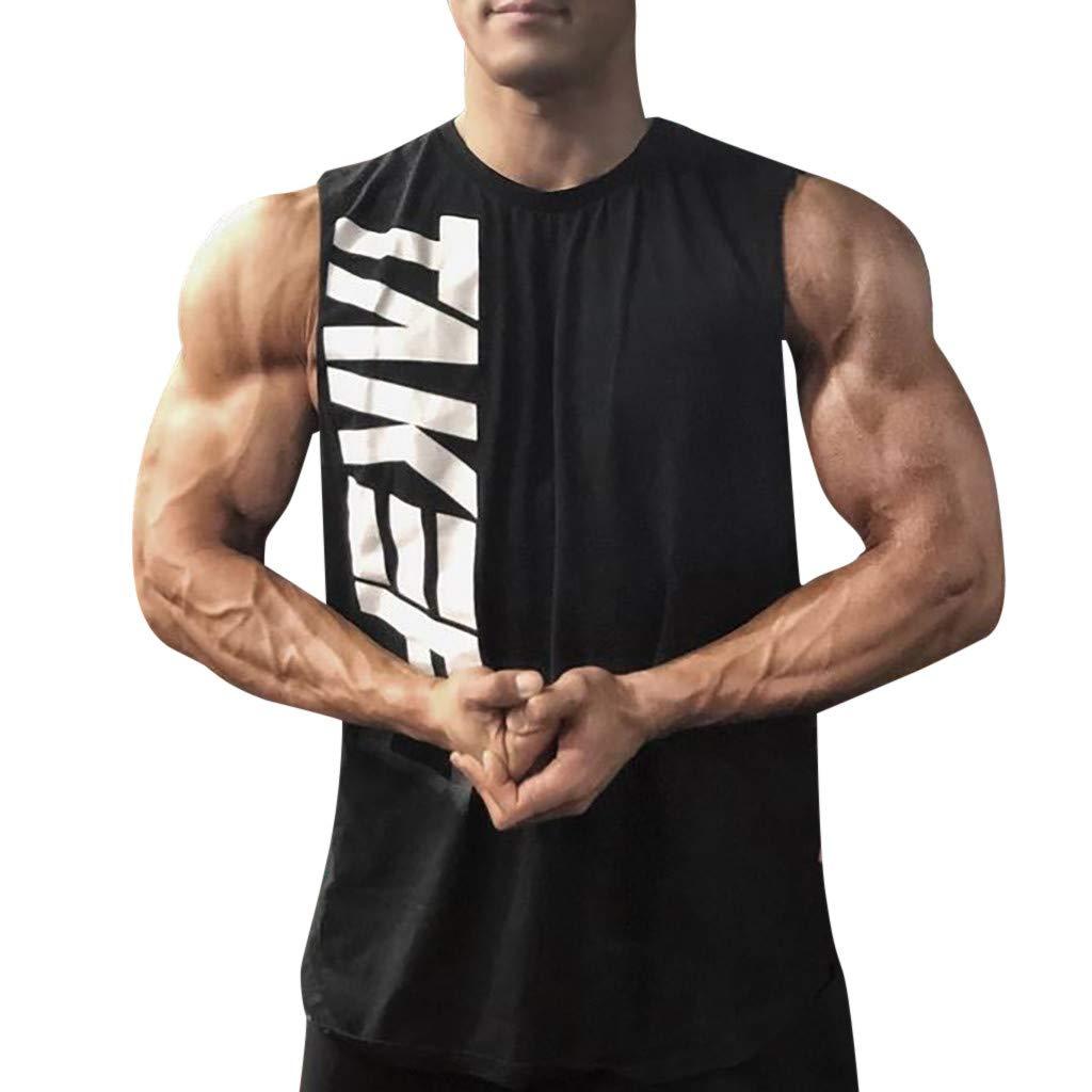 OGGI-Canotte Uomo Casuali Canotte da Sportivo Estate Comodo Traspiranti Bodybuilding Gilet Moda Senza Manica T-Shirt per Culturismo Casuali Tinta Unita Stampa da Lettere Tank Top