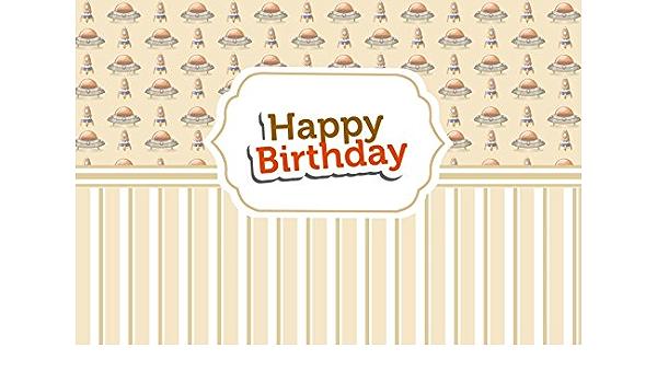 Vinyl Happy Birthday Backdrop 8x6ft Brown Striped Cartoon Rockets UFO Backdrop Baby Birthday Party Photography Background Studio Child Baby Portrait Backdrop