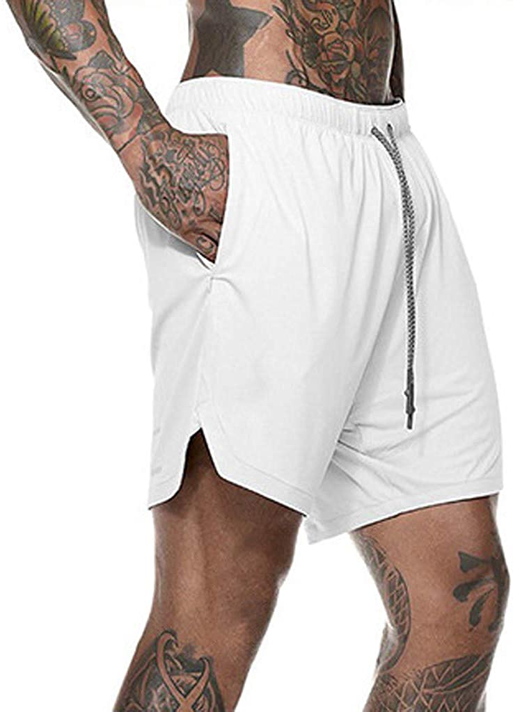 Mens Training Short Pants Clearance Sale NDGDA Fast Drying Pockets Inside Running Sports Short Pants Summer