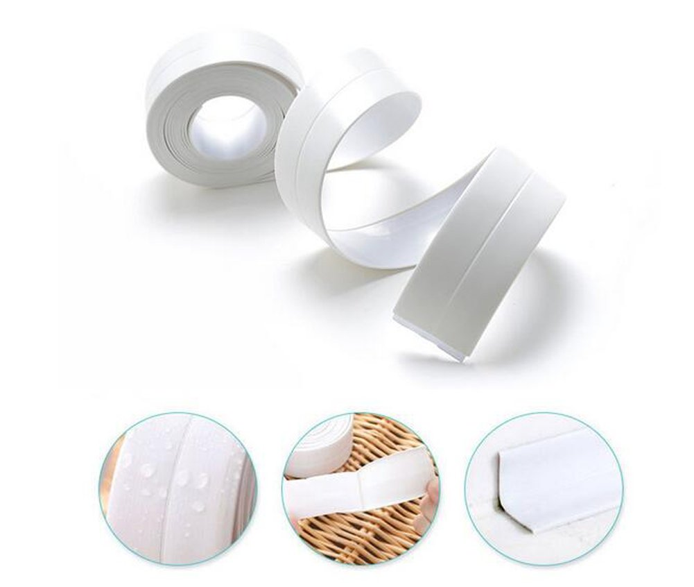 erioctry 1Roll 12.6X1.5'' White Self-Adhensive Flexible Stick Caulking Tape Surround Waterproof Decorative Sealer Used For Bathroom Kitchen Shower Toilet Wall Sealing