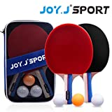 Joy.J Table Tennis Bats, Pingpong Racket Set with 2 Bats and 3 Balls, TT Paddle for Beginner
