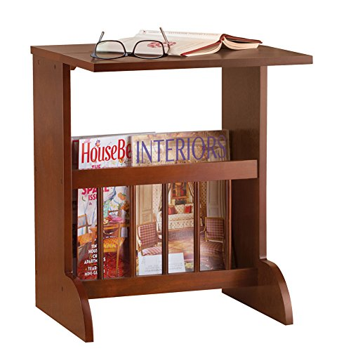 Collections Etc Expandable Wood Side Accent Table with Magazine Storage Rack (Top Wide Magazine Rack)
